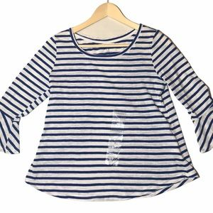 """NWT Hannah  Striped 3/4"""" Flared Sleeved Top"""